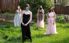 Seniors Estie Seligman, Catherine Webb-Purkis, Brooke Wilson, and Abby Widjanarko celebrate prom outside with masks while social distancing. This is a result of prom being cancelled this year.
