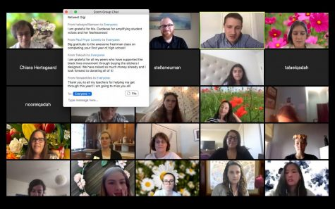 Students express their gratitude using the chat function on Zoom while staff member Jordan Lewis says farewell to the gathered community for the last time. Various images of flowers filled the virtual zoom backgrounds to represent the flower crowns worn in past years.