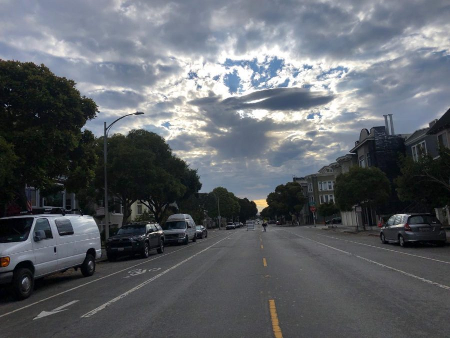 View of junior Lily Peta's 7 a.m. walk to start her daily routine. Many popular streets such as Lake St and John F Kennedy Dr are partially closed to traffic to encourage social distancing among pedestrians and cyclists.