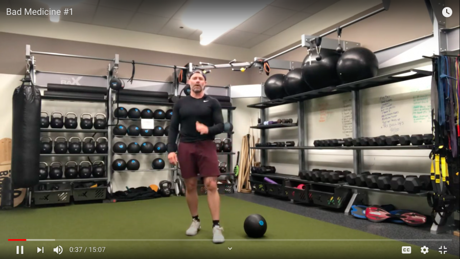 Coach Barclay leads a Youtube workout accessible through BarclaySpring linktree. Prerecorded YouTube workouts and daily Zoom training, led by the athletic faculty, are available to students while remote learning continues.
