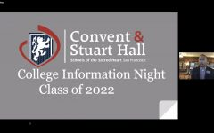 Junior students and families attended the College Information Night hosted by Convent & Stuart Hall's college counselors. The meeting discussed what to expect during junior year, the college search timeline and what juniors can do to make their year proactive.