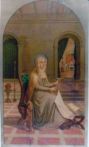"The final ""Mater"" painting depicts Mary pausing in reflection while she gazes upwards at God as she completes her weaved garment. ""Mater in the House of Saint John"" was painted by Pauline Perdrau in 1883, but the original is lost."