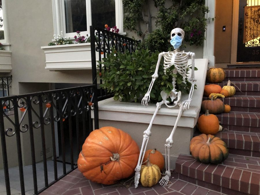 3570 Washington St. decorates the house with a variety of pumpkins as well as a skeleton wearing a mask. Although Halloween may be different this year due to coronavirus, the residents used their Halloween decorations to show the importance of wearing a mask.