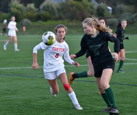 Former Convent student Cassia McTamaney steps to the ball in a playoff game last season against Drew School. After being on the Convent varsity soccer team for two years, McTamaney transferred to the IMG Academy, an elite sports education institution.