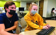 Cece Giarman ('19) adjusts to new safety protocols including wearing masks at the University of Notre Dame. Students attended in-person classes after undergoing a two-week quarantine upon arriving on campus in the fall.