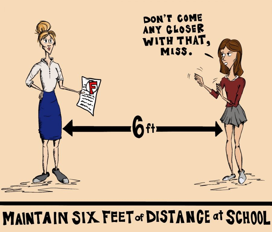 When returning to in-person learning, maintain six feet of distance at school and keep masks on.