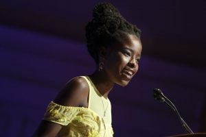 """Amanda Gorman delivers her poem """"In This Place: An American Lyric"""" to the Library of Congress in 2017. First lady Jill Biden saw Gorman speak at the event and later invited her to deliver a poem at the 2021 inauguration."""