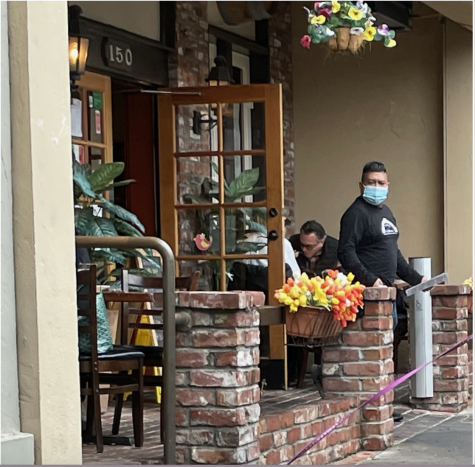Diners eat a meal at Trattoria da Vittorio's outdoor seating on West Portal Ave. on Jan. 28, 2021. Outdoor dining reopened Thursday after San Francisco was placed on the state's Purple Tier of the color-coded classification system for coronavirus infections.