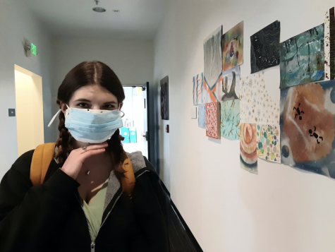 Freshman Ashlyn Grove layers two masks in order to increase virus protection. The general recommendation is to wear a cloth mask over a medical mask for a better fit.