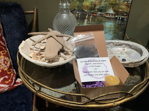 Some Catholic churches around the City permitted parishioners to pick up a box of ashes to remotely observe Ash Wednesday. The box from St.Ignatius Parish included a bag of ashes, a votive candle and purple confetti.
