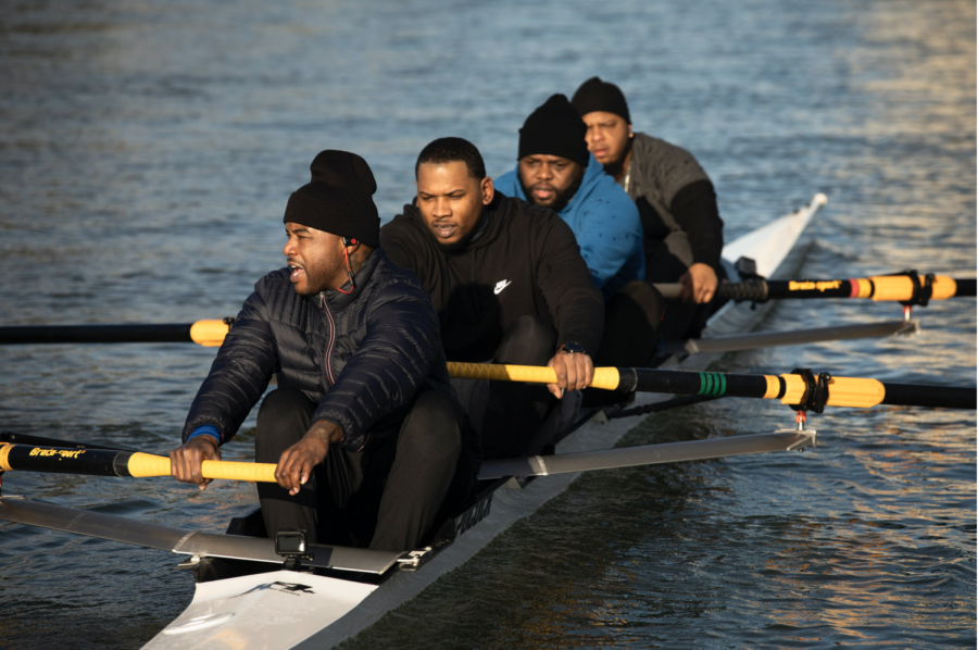 "Preston Grandberry, Arshay Cooper, Malcolm Hawkins and Alvin Ross — members of the Manley Team — row in Oakland. These men are the subject of the documentary, ""A Most Beautiful Thing"" which depicts the trauma and difficulties of race and poverty."