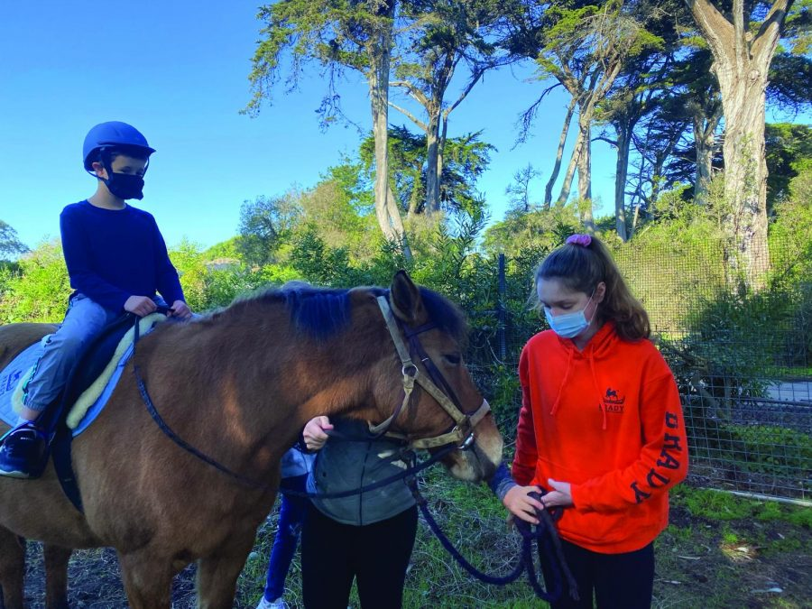 Sophomore+Natalie+Posner+holds+the+horse+as+Gavin+Scola%2C+4%2C+waits+for+riding+instruction+from+director+Sarah+Meakin+at+the+James+S.+Brady+Therapeutic+Riding+Program.+Volunteers+help+children+learn+to+ride+horses+as+a+form+of+physical+and+emotional+therapy.+