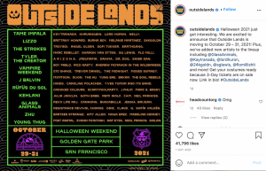 Outside Lands released an updated artist lineup for the 2021 musical festival on its social platforms and website on Thursday. The originally scheduled lineup was adjusted due to the change in dates to late October.