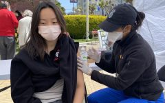 Junior Shana Ong receives her first dose of the Pfizer-BioNTech COVID-19 vaccine on the Broadway campus. Convent & Stuart Hall began facilitating COVID-19 vaccinations on campus through Mission Wellness to individuals 16 years and older on April 23 and 12 years and older on May 14.