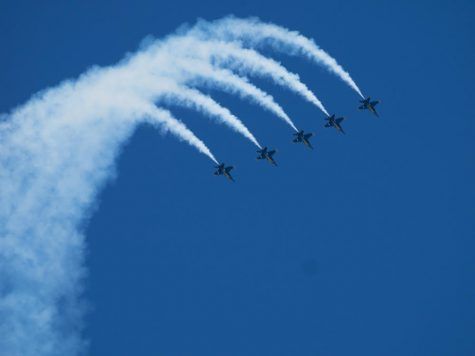 The Blue Angels take flights and perform a choreographed routine in their 2014 fleet week performance. Fleet week has been taking place in the Bay Area since the 80's and is one of over 11 around the country.